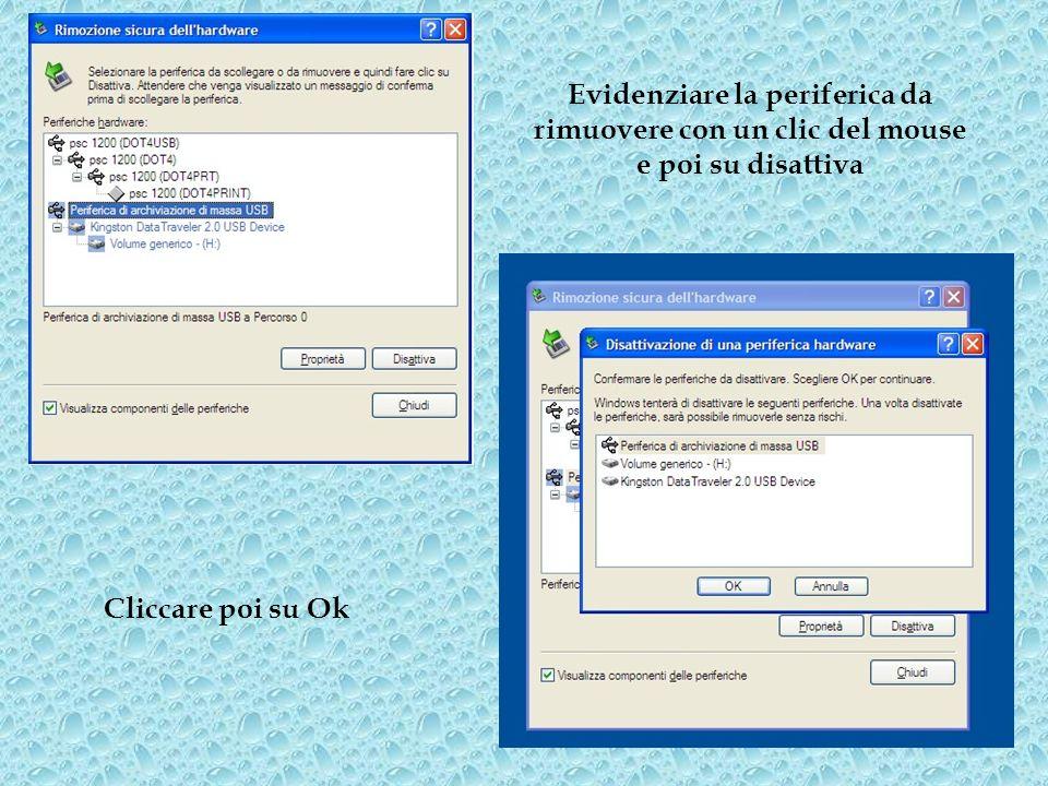 Evidenziare la periferica da rimuovere con un clic del mouse e poi su disattiva Cliccare poi su Ok
