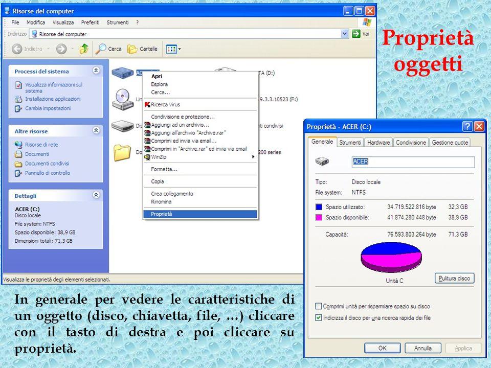 In generale per vedere le caratteristiche di un oggetto (disco, chiavetta, file, …) cliccare con il tasto di destra e poi cliccare su proprietà. Propr
