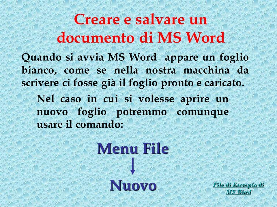 Creare e salvare un documento di MS Word Quando si avvia MS Word appare un foglio bianco, come se nella nostra macchina da scrivere ci fosse già il fo