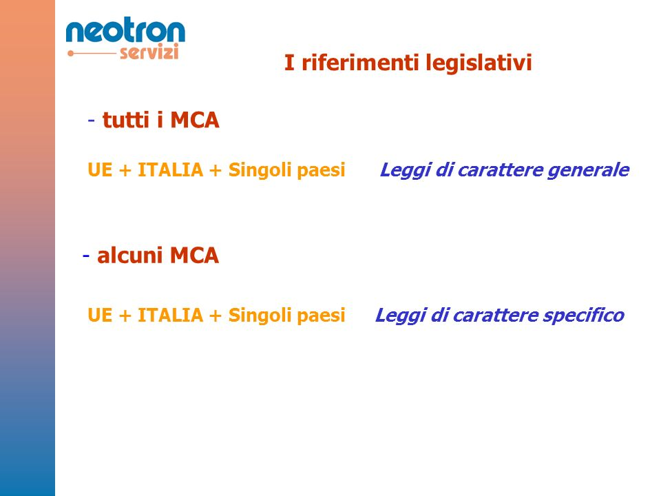 - tutti i MCA Leggi di carattere generaleUE + ITALIA + Singoli paesi - alcuni MCA Leggi di carattere specificoUE + ITALIA + Singoli paesi I riferimenti legislativi