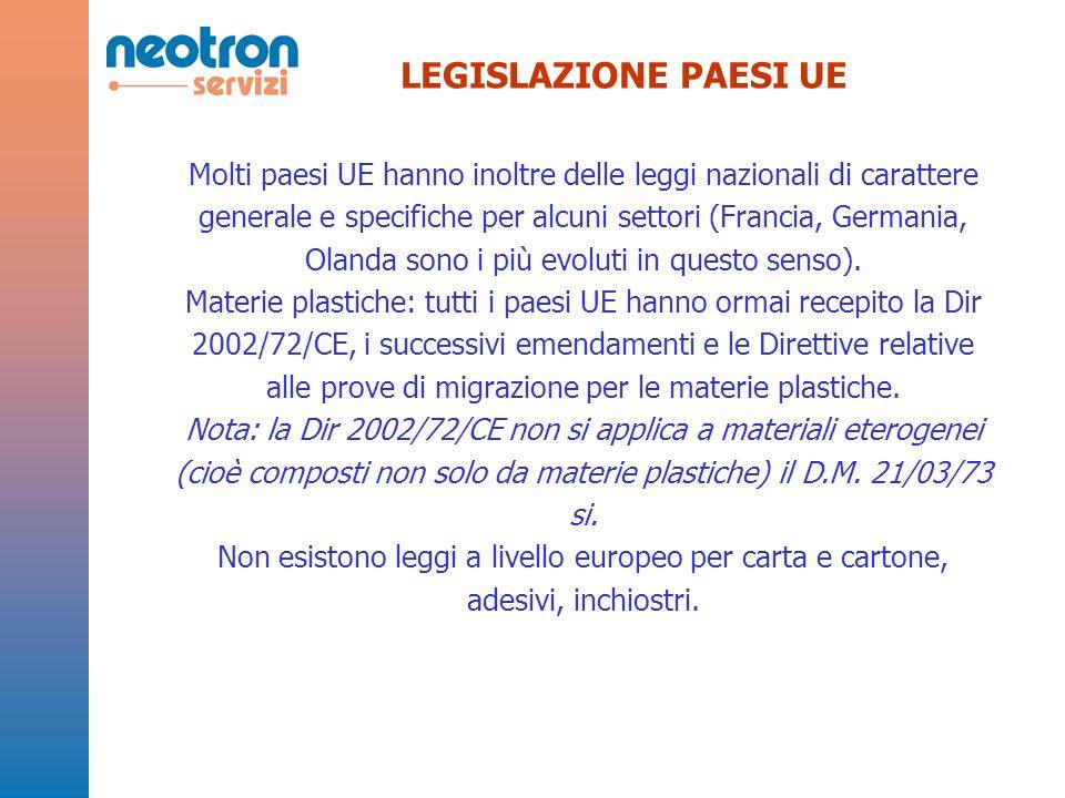 LEGISLAZIONE PAESI UE Molti paesi UE hanno inoltre delle leggi nazionali di carattere generale e specifiche per alcuni settori (Francia, Germania, Olanda sono i più evoluti in questo senso).