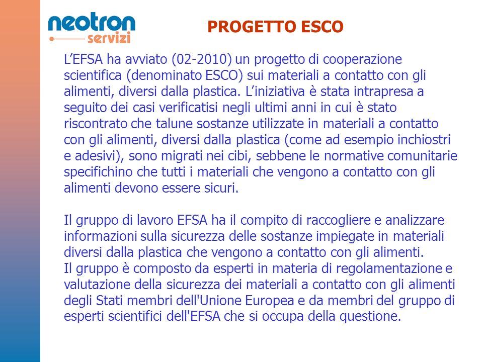 PROGETTO ESCO LEFSA ha avviato (02-2010) un progetto di cooperazione scientifica (denominato ESCO) sui materiali a contatto con gli alimenti, diversi