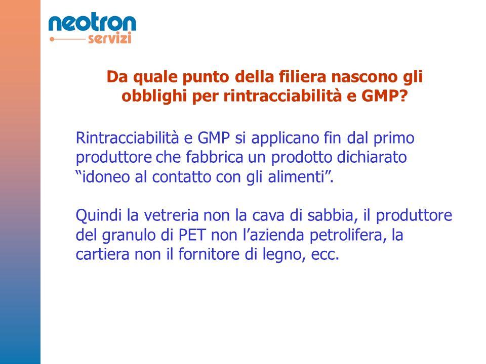 Da quale punto della filiera nascono gli obblighi per rintracciabilità e GMP? Rintracciabilità e GMP si applicano fin dal primo produttore che fabbric