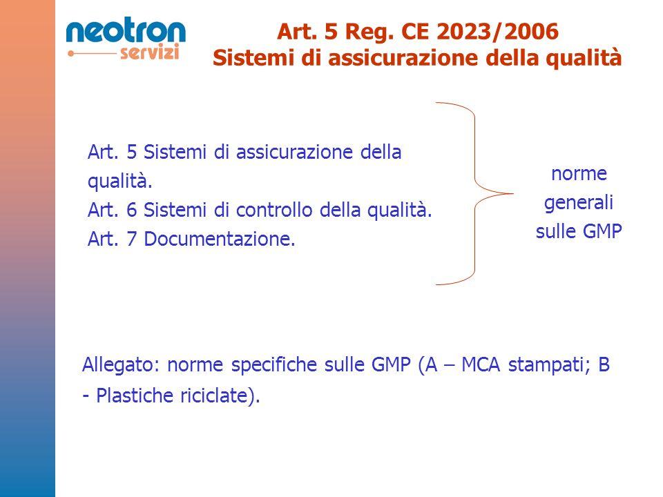 Art. 5 Reg. CE 2023/2006 Sistemi di assicurazione della qualità Art. 5 Sistemi di assicurazione della qualità. Art. 6 Sistemi di controllo della quali