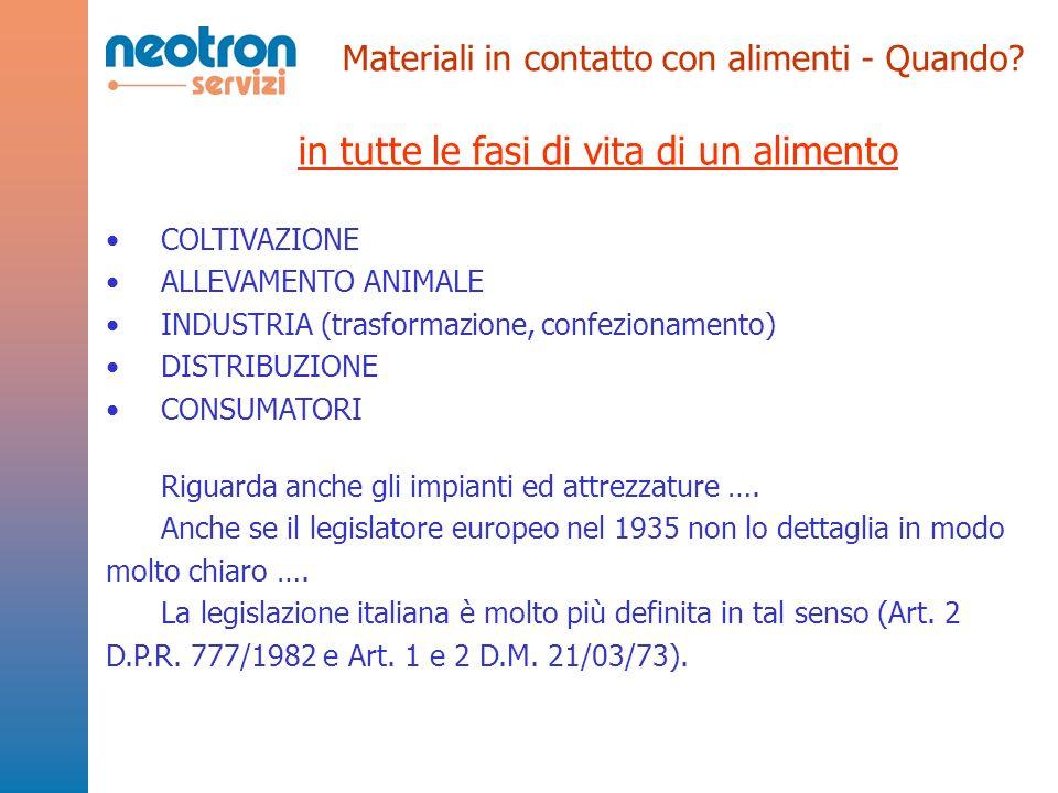 Materiali in contatto con alimenti - Quando? in tutte le fasi di vita di un alimento COLTIVAZIONE ALLEVAMENTO ANIMALE INDUSTRIA (trasformazione, confe