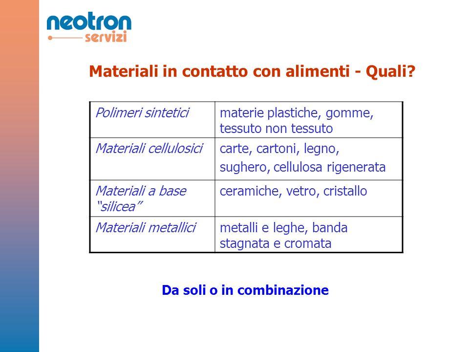 Polimeri sinteticimaterie plastiche, gomme, tessuto non tessuto Materiali cellulosicicarte, cartoni, legno, sughero, cellulosa rigenerata Materiali a
