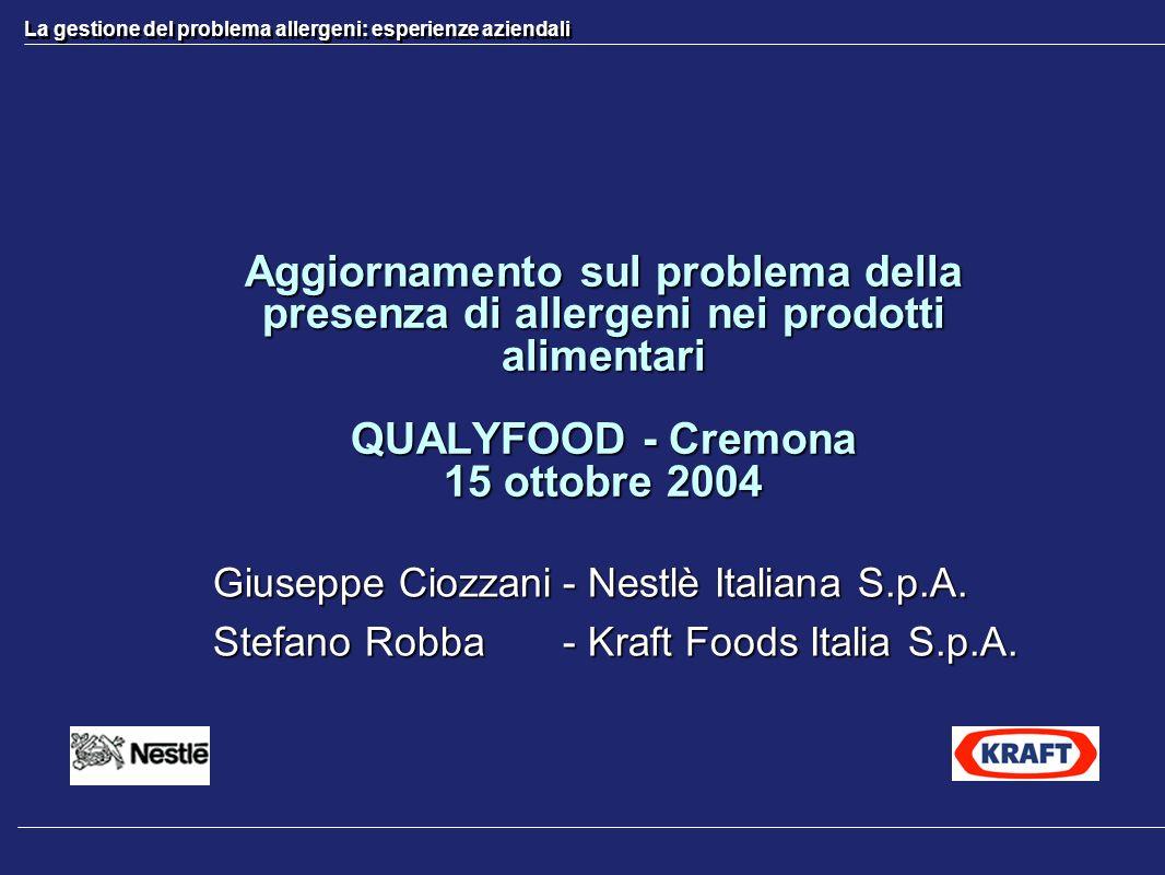 La gestione del problema allergeni: esperienze aziendali Aggiornamento sul problema della presenza di allergeni nei prodotti alimentari QUALYFOOD - Cr