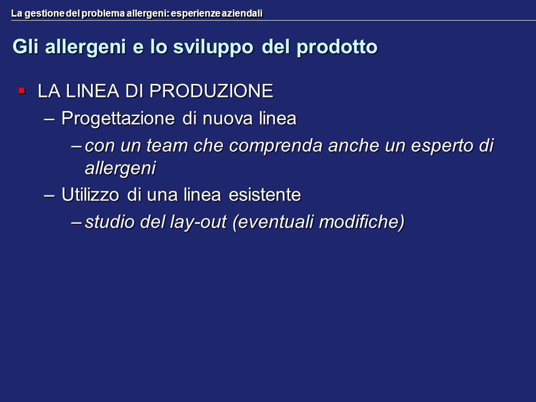 La gestione del problema allergeni: esperienze aziendali Gli allergeni e lo sviluppo del prodotto LA LINEA DI PRODUZIONE LA LINEA DI PRODUZIONE –Proge