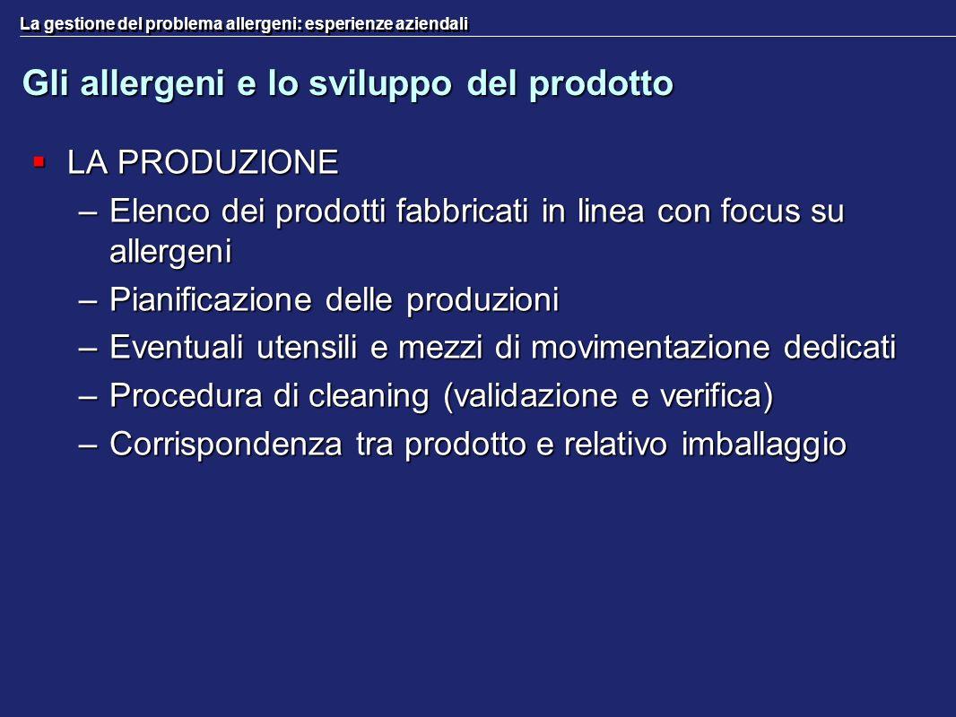 La gestione del problema allergeni: esperienze aziendali Gli allergeni e lo sviluppo del prodotto LA PRODUZIONE LA PRODUZIONE –Elenco dei prodotti fab