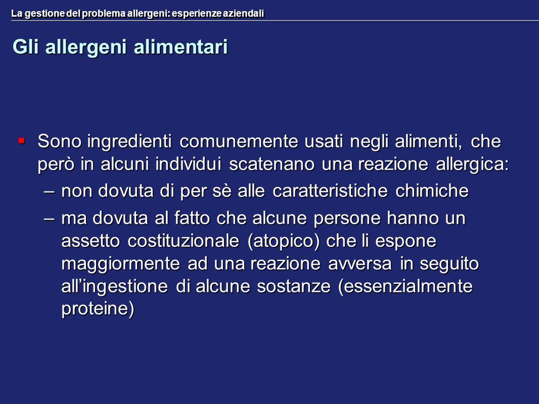 La gestione del problema allergeni: esperienze aziendali Gli allergeni alimentari Sono ingredienti comunemente usati negli alimenti, che però in alcun