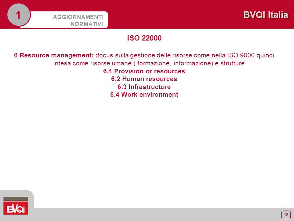12 BVQI Italia AGGIORNAMENTI NORMATIVI 1 ISO 22000 6 Resource management: :focus sulla gestione delle risorse come nella ISO 9000 quindi intesa come risorse umane ( formazione, informazione) e strutture 6.1 Provision or resources 6.2 Human resources 6.3 Infrastructure 6.4 Work environment