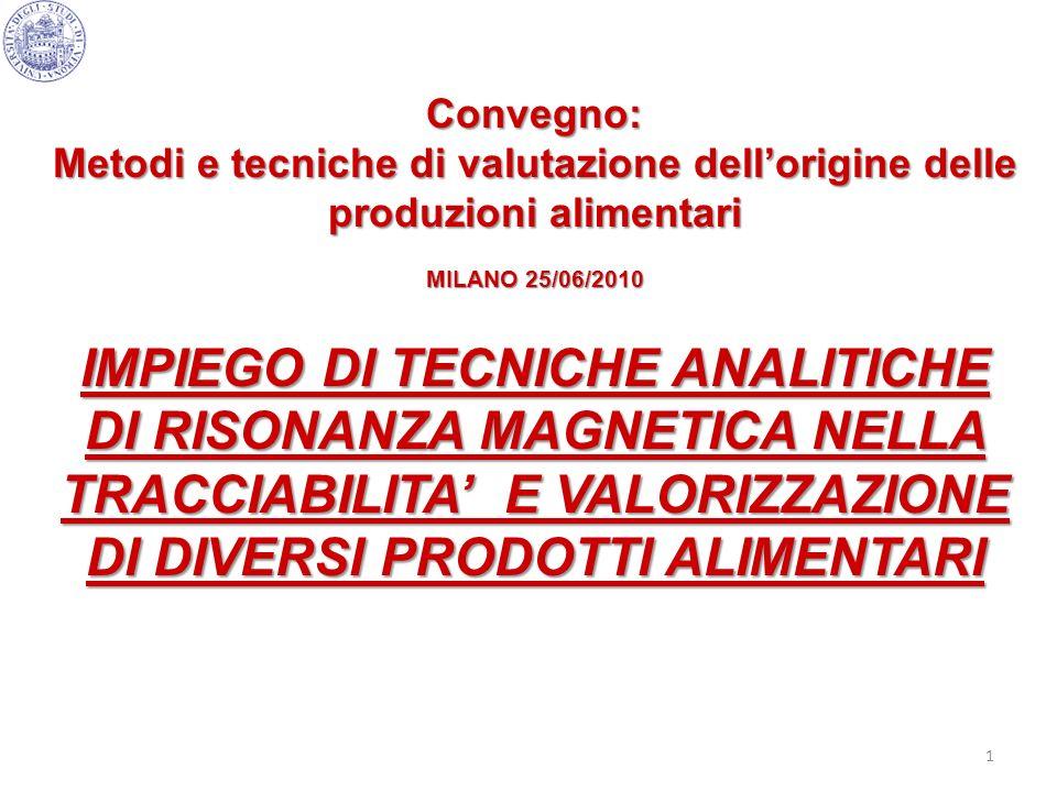 1 Convegno: Metodi e tecniche di valutazione dellorigine delle produzioni alimentari MILANO 25/06/2010 IMPIEGO DI TECNICHE ANALITICHE DI RISONANZA MAG