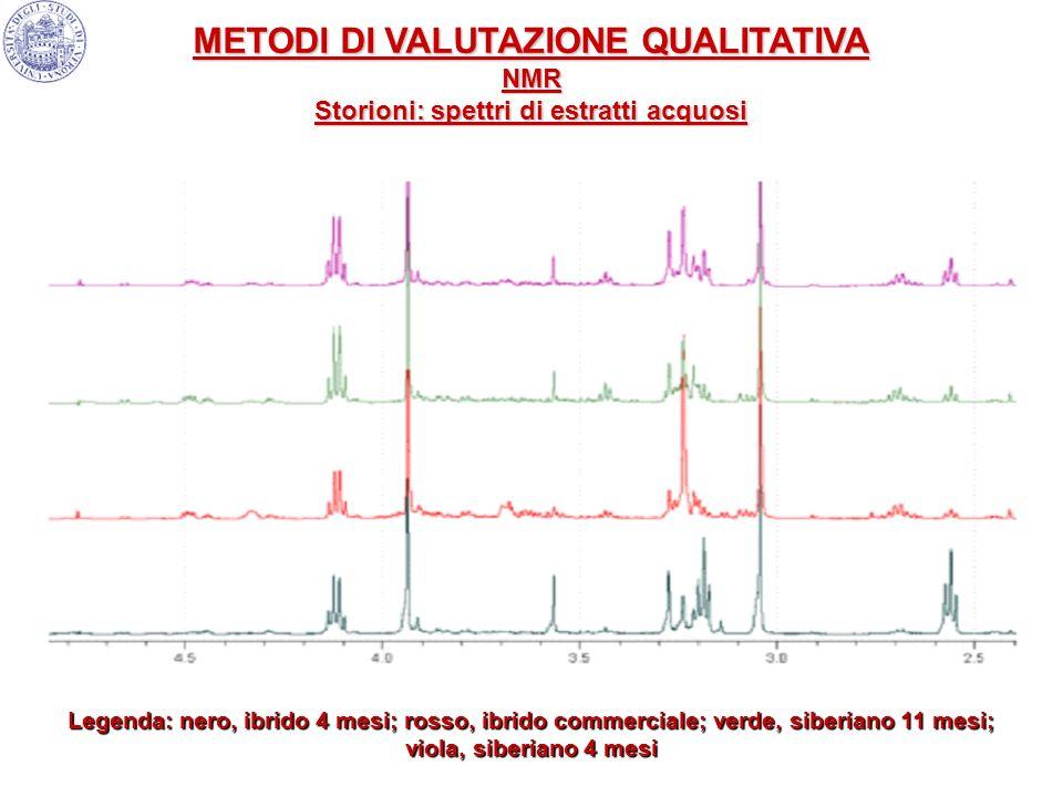 Legenda: nero, ibrido 4 mesi; rosso, ibrido commerciale; verde, siberiano 11 mesi; viola, siberiano 4 mesi METODI DI VALUTAZIONE QUALITATIVA NMR Stori