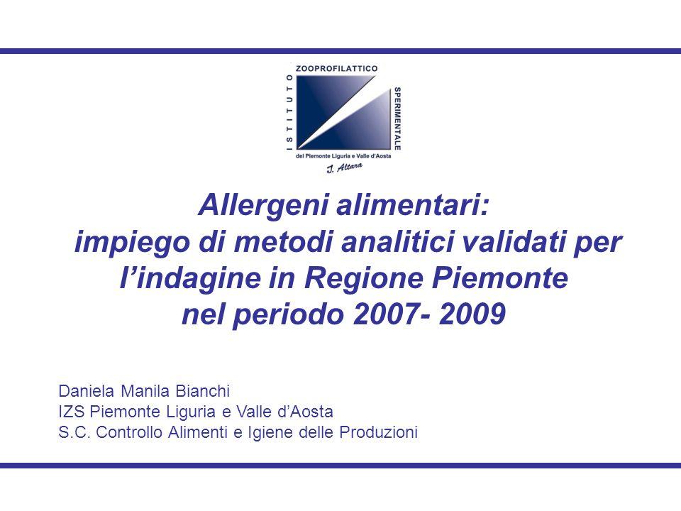 Allergeni alimentari: impiego di metodi analitici validati per lindagine in Regione Piemonte nel periodo 2007- 2009 Daniela Manila Bianchi IZS Piemonte Liguria e Valle dAosta S.C.