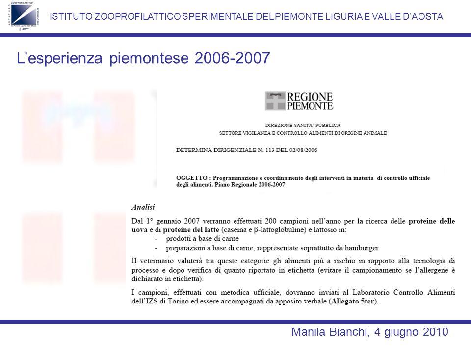 ISTITUTO ZOOPROFILATTICO SPERIMENTALE DEL PIEMONTE LIGURIA E VALLE DAOSTA Lesperienza piemontese 2006-2007 Manila Bianchi, 4 giugno 2010