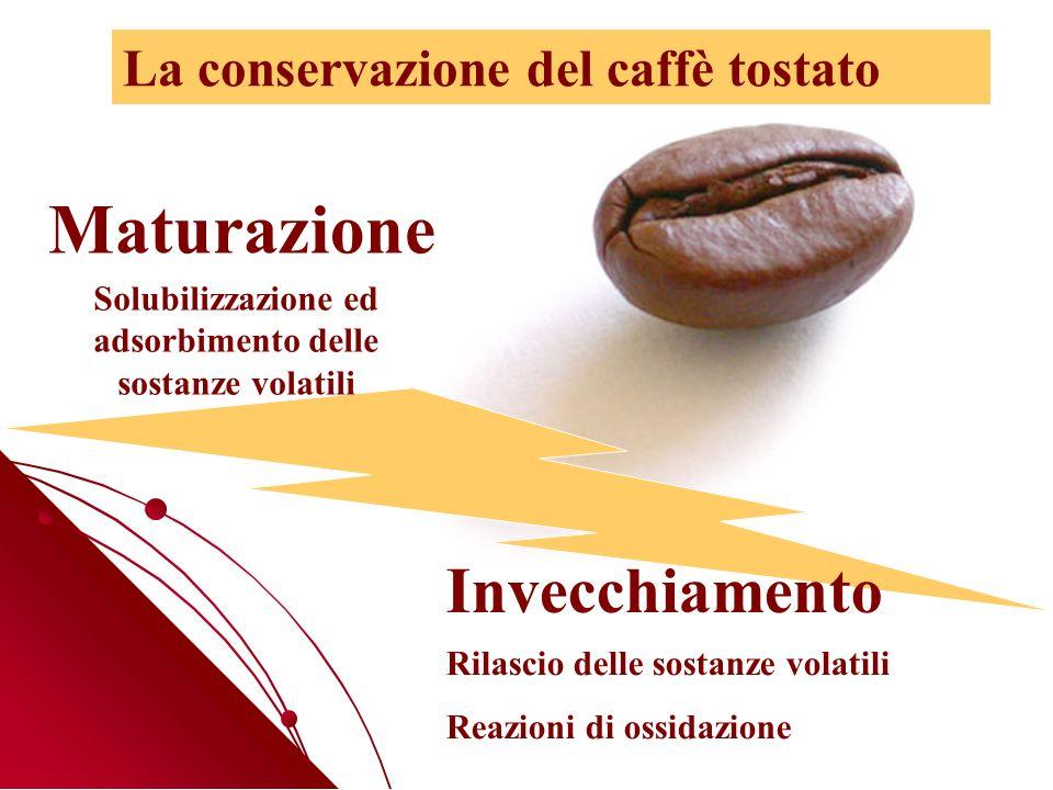 Maturazione Invecchiamento Solubilizzazione ed adsorbimento delle sostanze volatili Rilascio delle sostanze volatili Reazioni di ossidazione La conservazione del caffè tostato