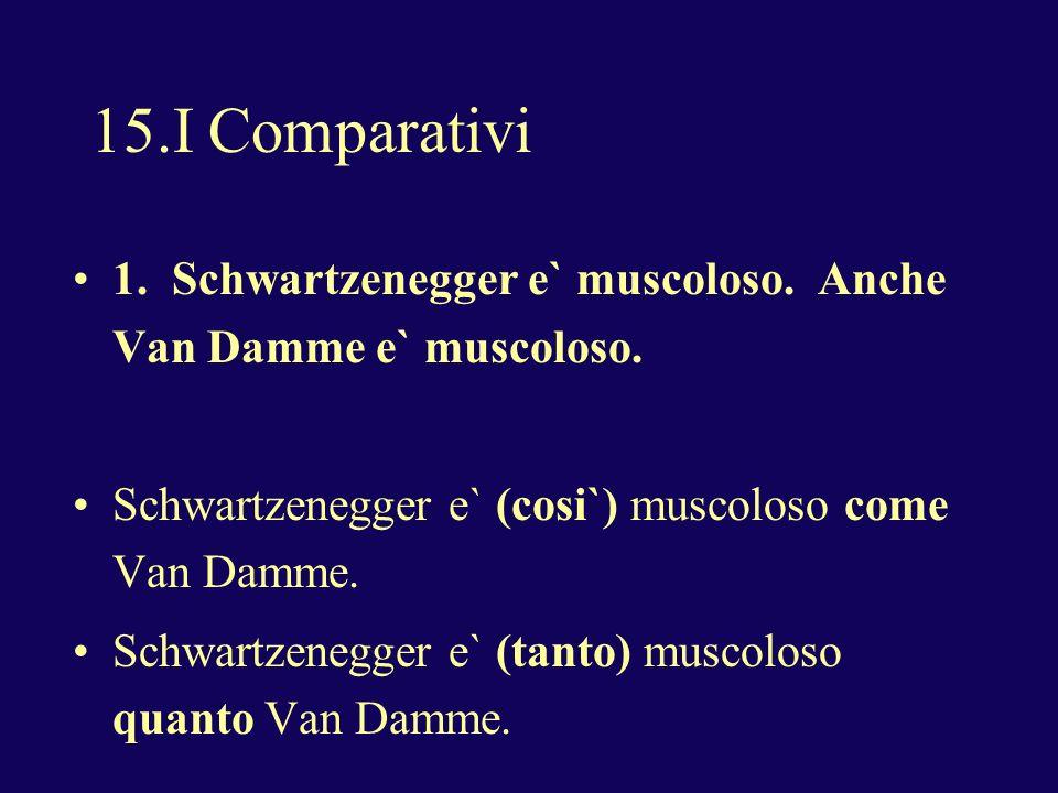 15.I Comparativi 1. Schwartzenegger e` muscoloso.