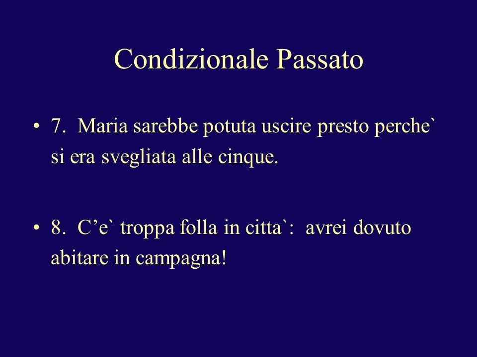 Condizionale Passato Condizionale passato: condizionale presente di essere o avere + participio passato (would have, should have, could have)