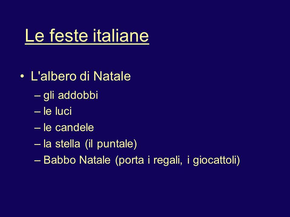 Le feste italiane L'albero di Natale – gli addobbi – le luci – le candele – la stella (il puntale) – Babbo Natale (porta i regali, i giocattoli)
