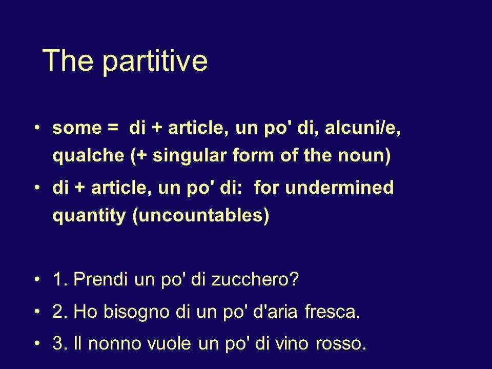 The partitive some = di + article, un po' di, alcuni/e, qualche (+ singular form of the noun) di + article, un po' di: for undermined quantity (uncoun