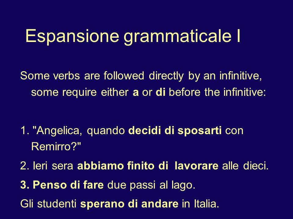 Some verbs that require di before the infinitive: credere, decidere, finire, pensare, sperare.