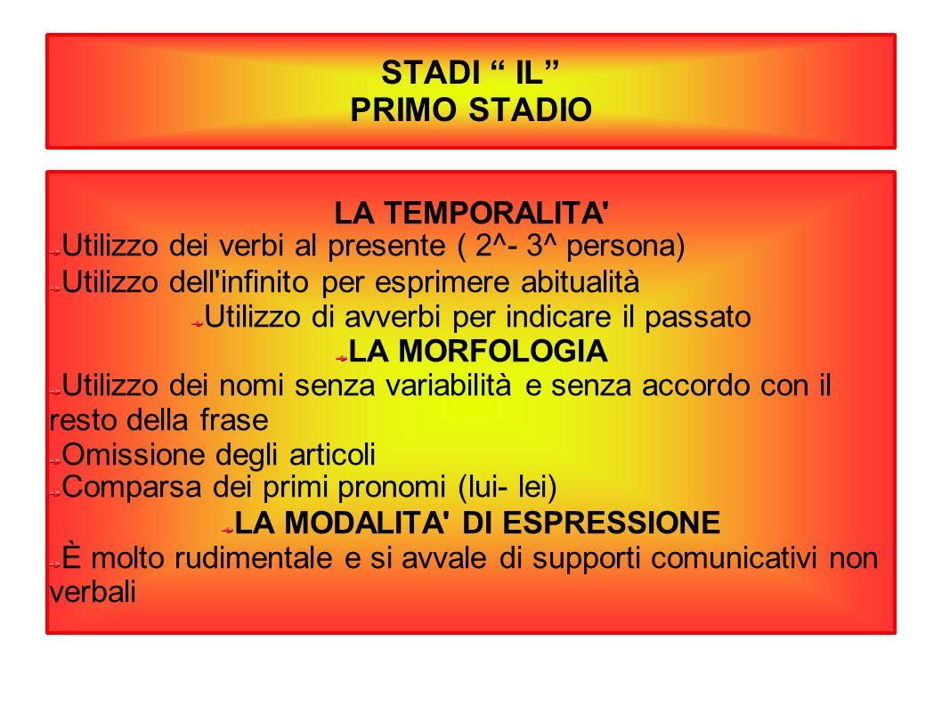 STADI IL PRIMO STADIO LA TEMPORALITA' Utilizzo dei verbi al presente ( 2^- 3^ persona) Utilizzo dell'infinito per esprimere abitualità Utilizzo di avv