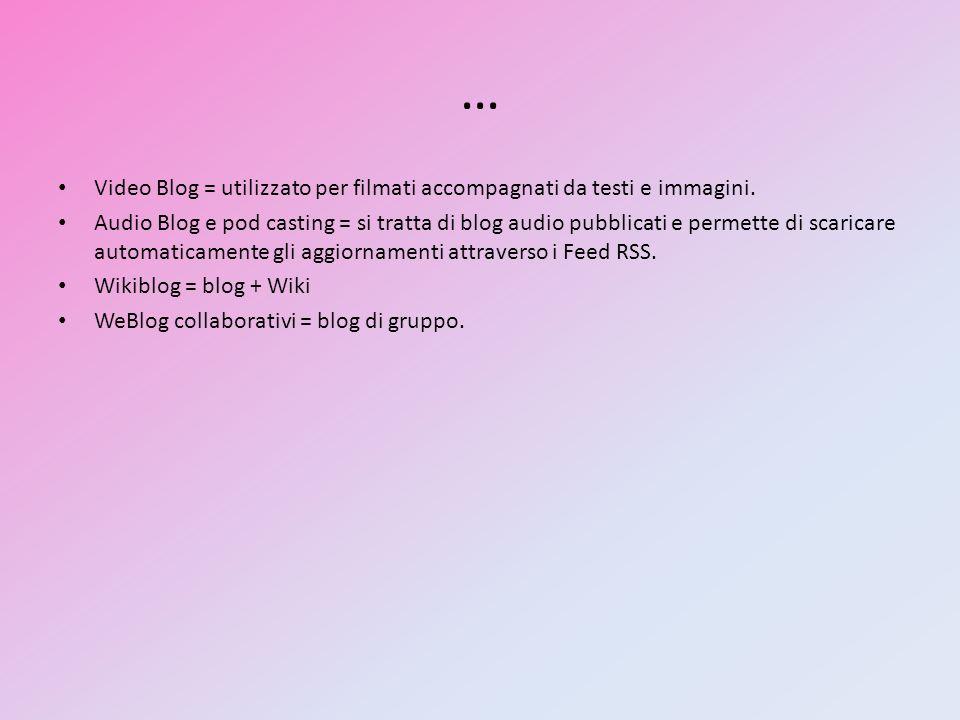 … Video Blog = utilizzato per filmati accompagnati da testi e immagini. Audio Blog e pod casting = si tratta di blog audio pubblicati e permette di sc