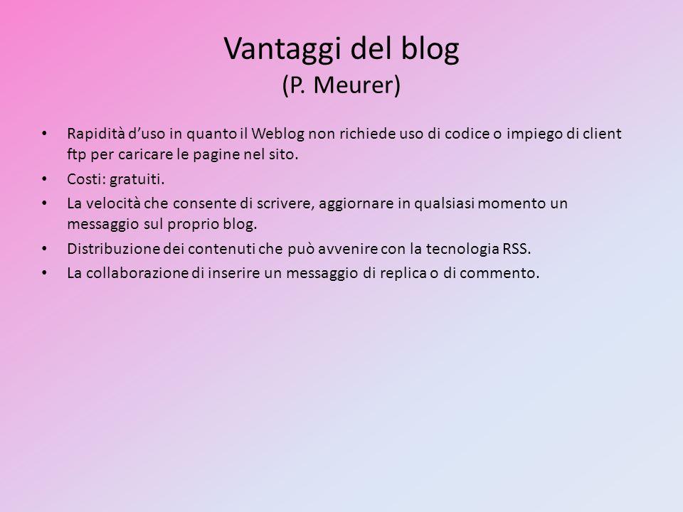 Vantaggi del blog (P. Meurer) Rapidità duso in quanto il Weblog non richiede uso di codice o impiego di client ftp per caricare le pagine nel sito. Co