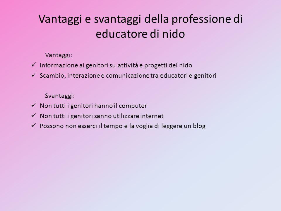 Vantaggi e svantaggi della professione di educatore di nido Vantaggi: Informazione ai genitori su attività e progetti del nido Scambio, interazione e