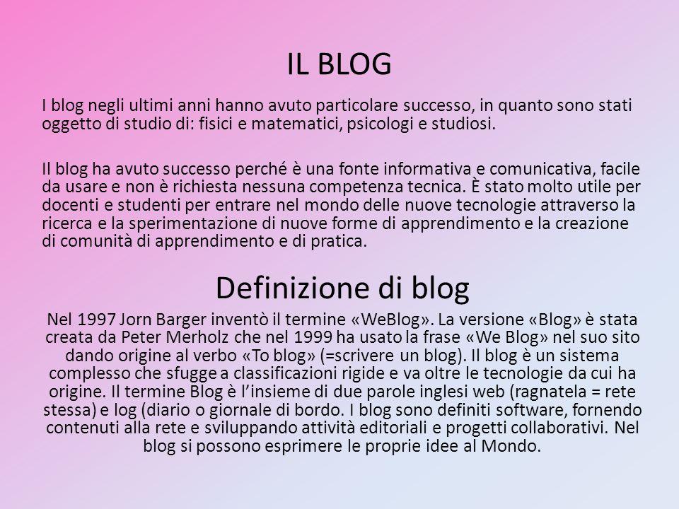 IL BLOG I blog negli ultimi anni hanno avuto particolare successo, in quanto sono stati oggetto di studio di: fisici e matematici, psicologi e studios