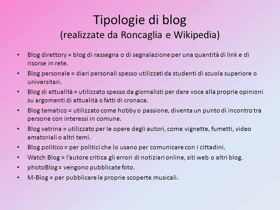 Tipologie di blog (realizzate da Roncaglia e Wikipedia) Blog direttory = blog di rassegna o di segnalazione per una quantità di link e di risorse in rete.