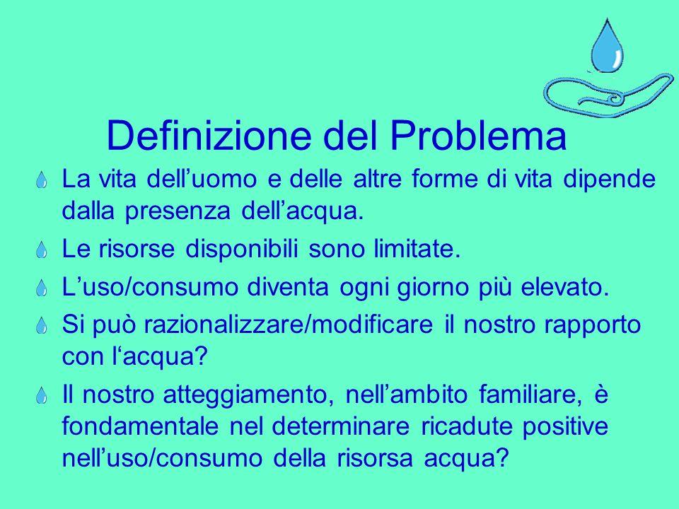 Definizione del Problema La vita delluomo e delle altre forme di vita dipende dalla presenza dellacqua.