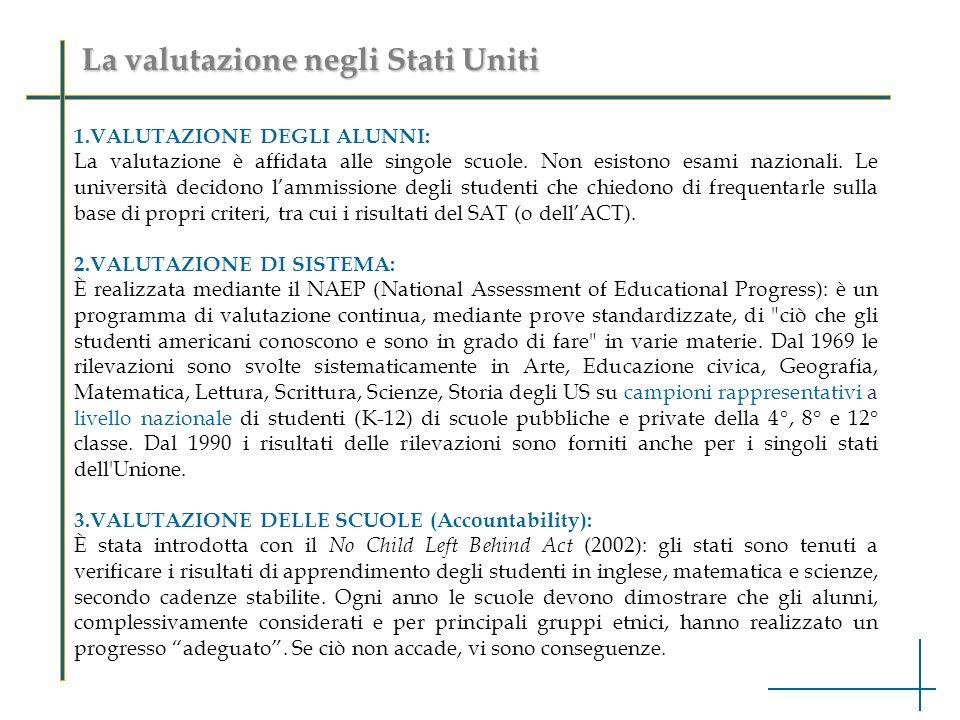 La valutazione negli Stati Uniti 1.VALUTAZIONE DEGLI ALUNNI: La valutazione è affidata alle singole scuole.
