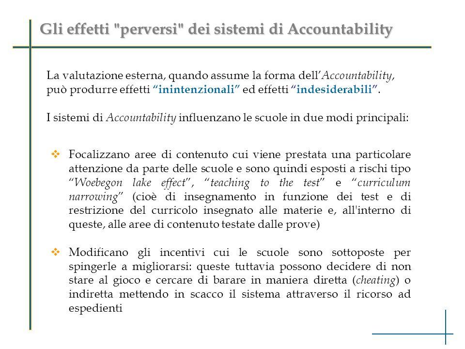 Gli effetti perversi dei sistemi di Accountability La valutazione esterna, quando assume la forma dell Accountability, può produrre effetti inintenzionali ed effettiindesiderabili.