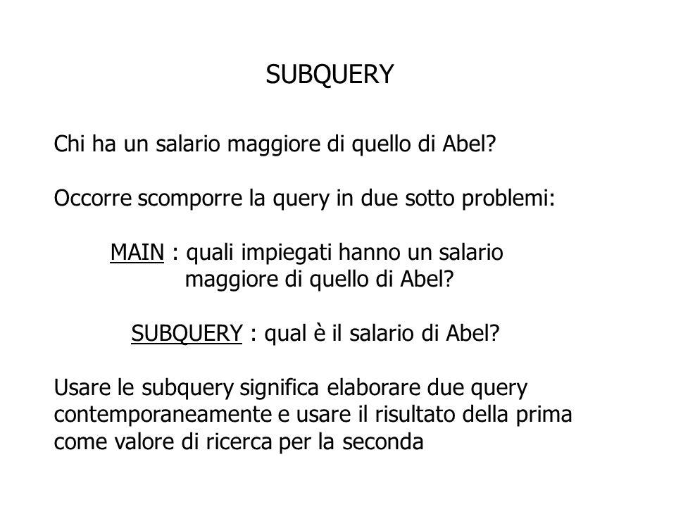 SINTASSI SELECT select_list FROM tabella WHERE espr operatore (SELECT select list FROM tabella); la subquery viene eseguita prima della main query il risultato della subquery viene usato per eseguire la main query è utile, ad esempio, per selezionare righe da una tabella e le condizioni dipendono dalla tabella stessa
