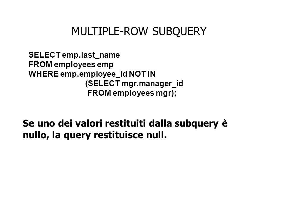 MULTIPLE-ROW SUBQUERY Se uno dei valori restituiti dalla subquery è nullo, la query restituisce null. SELECT emp.last_name FROM employees emp WHERE em