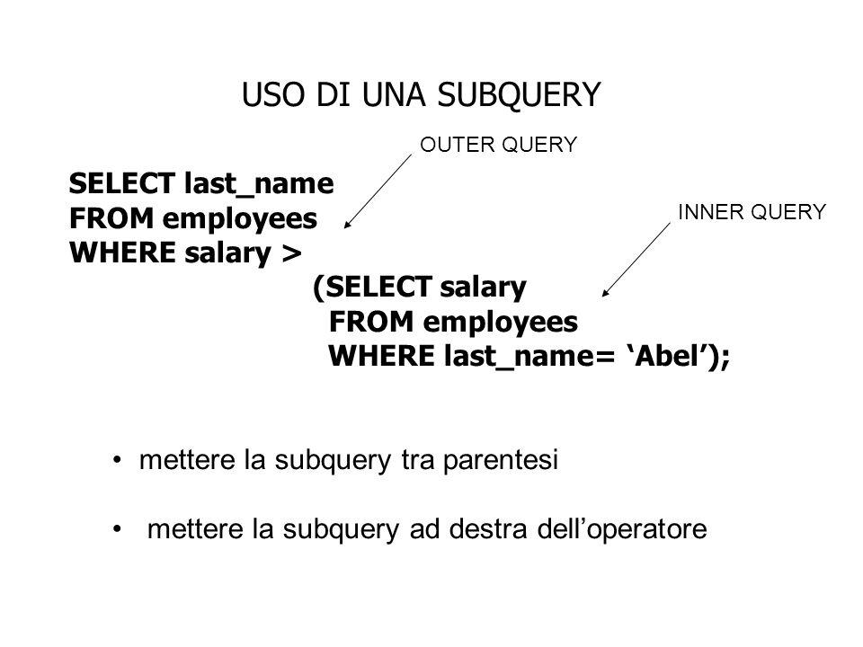 USO DI UNA SUBQUERY SELECT last_name FROM employees WHERE salary > (SELECT salary FROM employees WHERE last_name= Abel); mettere la subquery tra paren