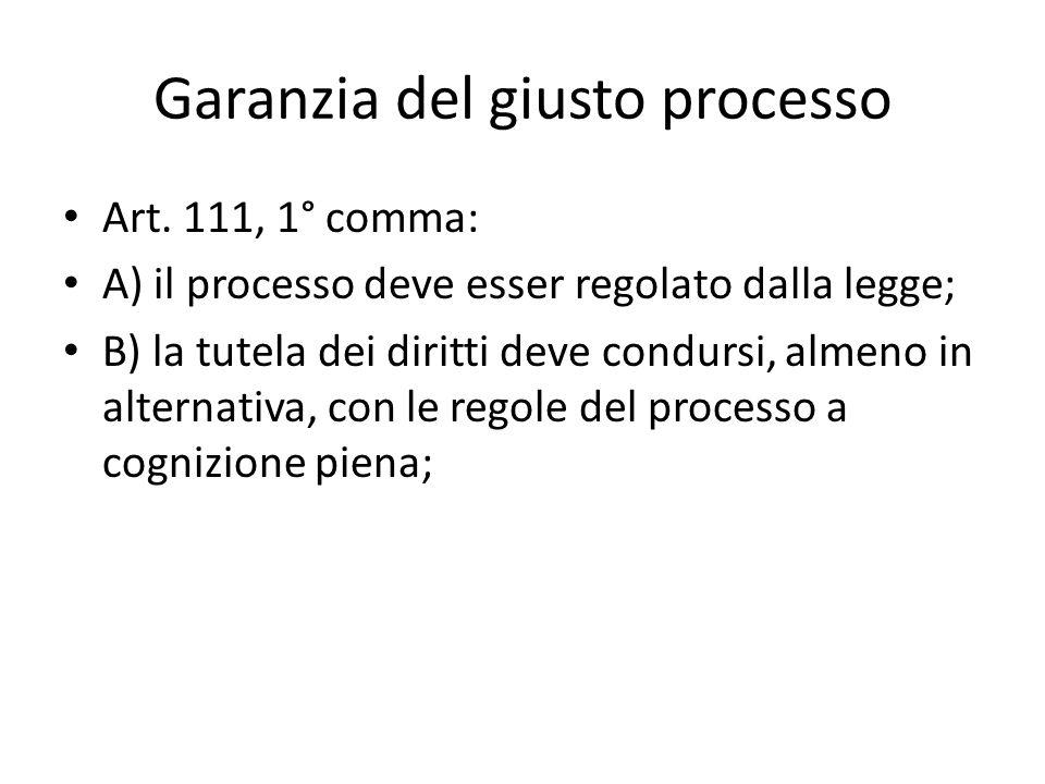Garanzia del giusto processo Art.