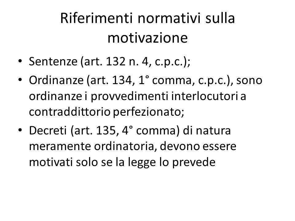 Riferimenti normativi sulla motivazione Sentenze (art.