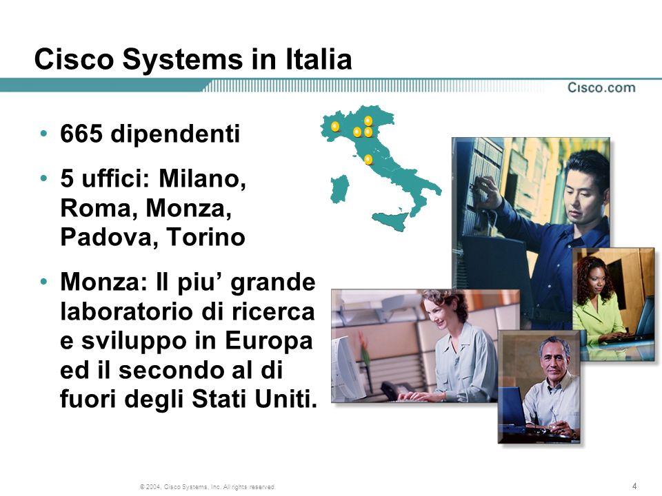 444 © 2004, Cisco Systems, Inc. All rights reserved. Cisco Systems in Italia 665 dipendenti 5 uffici: Milano, Roma, Monza, Padova, Torino Monza: Il pi