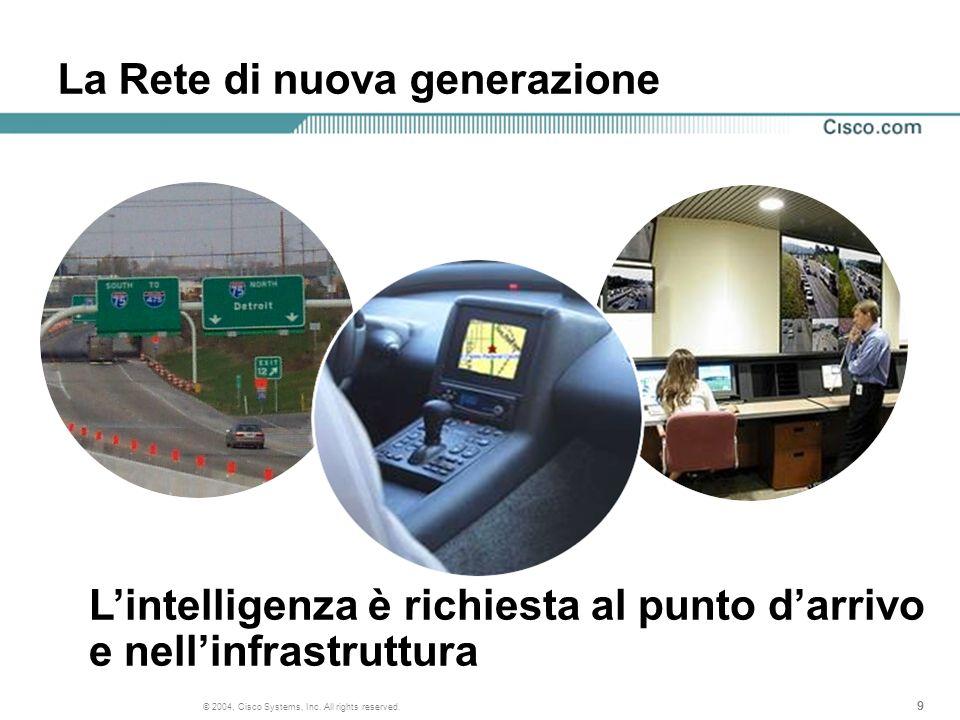 999 © 2004, Cisco Systems, Inc. All rights reserved. La Rete di nuova generazione Lintelligenza è richiesta al punto darrivo e nellinfrastruttura