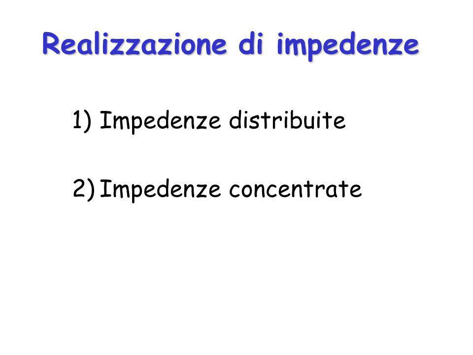 Realizzazione di impedenze 1)Impedenze distribuite 2)Impedenze concentrate