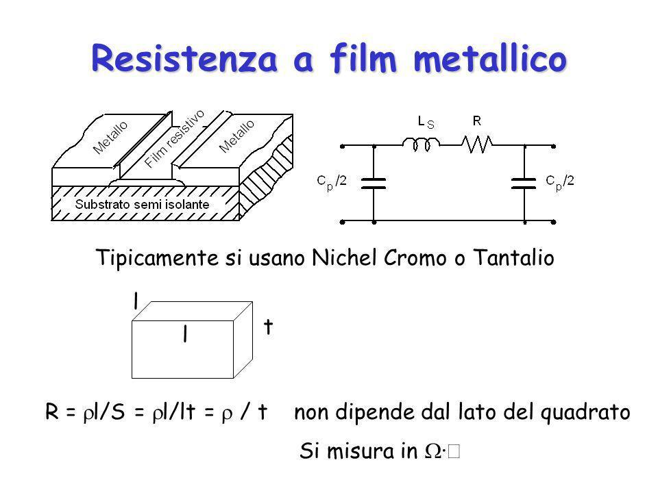 Resistenza a film metallico R = l/S = l/lt = / t non dipende dal lato del quadrato Si misura in · t l l Tipicamente si usano Nichel Cromo o Tantalio
