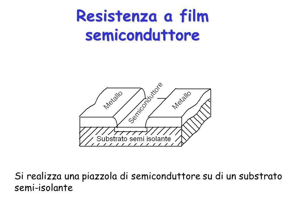 Resistenza a film semiconduttore Si realizza una piazzola di semiconduttore su di un substrato semi-isolante