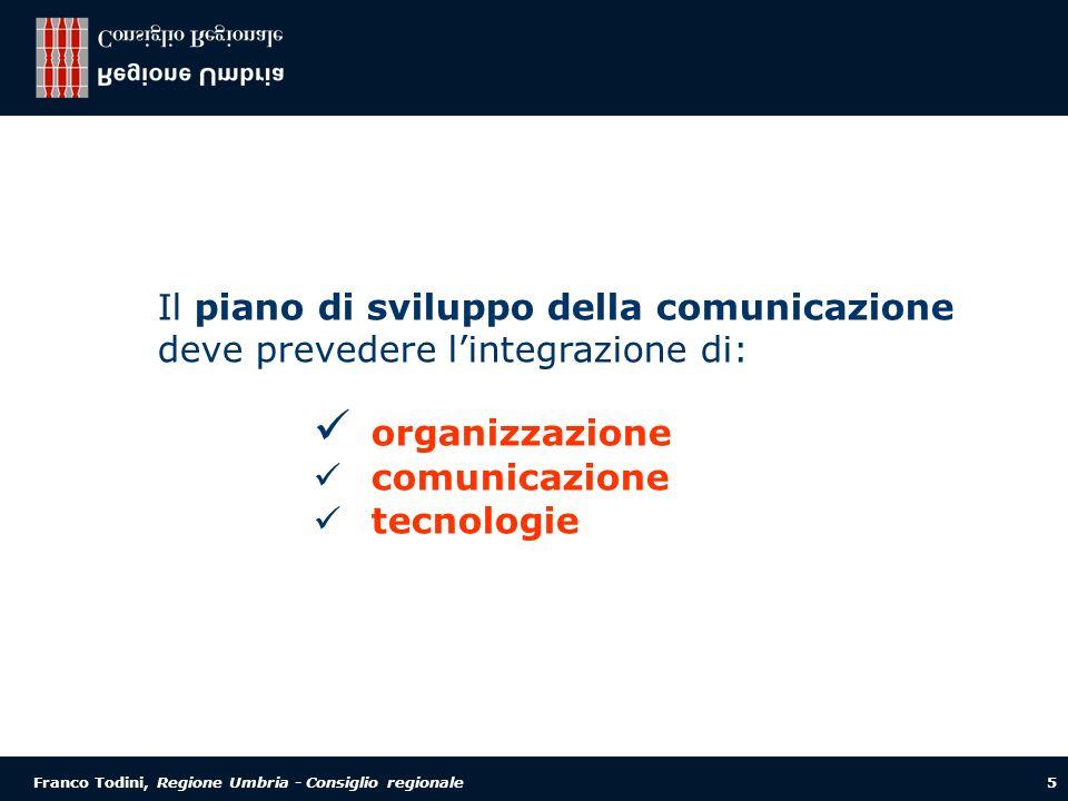 Franco Todini, Regione Umbria - Consiglio regionale 5 Il piano di sviluppo della comunicazione deve prevedere lintegrazione di: organizzazione comunicazione tecnologie