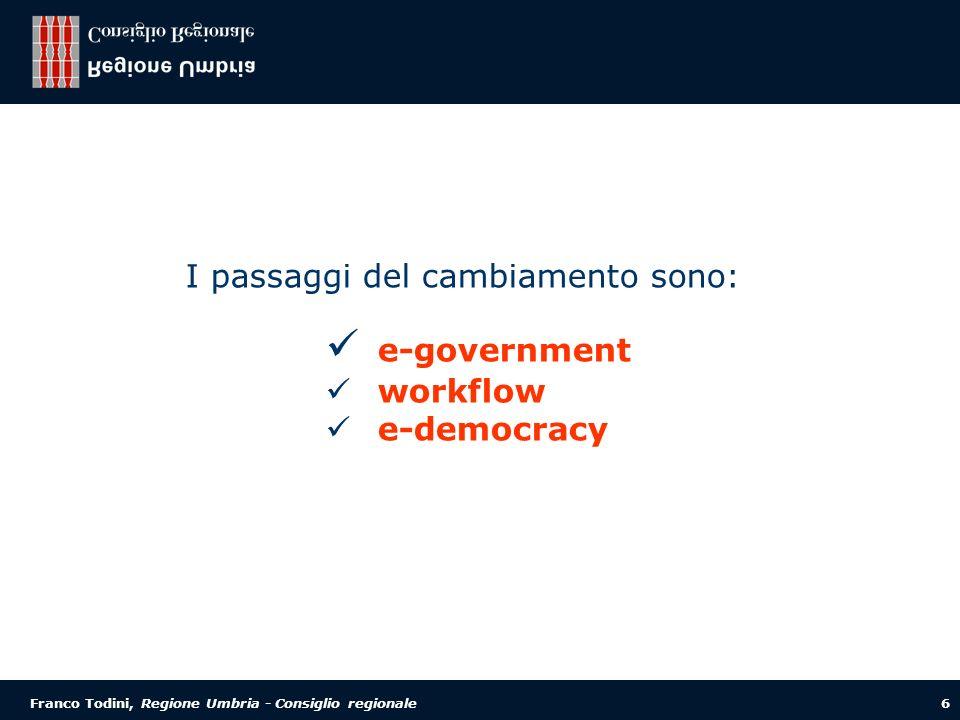 Franco Todini, Regione Umbria - Consiglio regionale 6 I passaggi del cambiamento sono: e-government workflow e-democracy