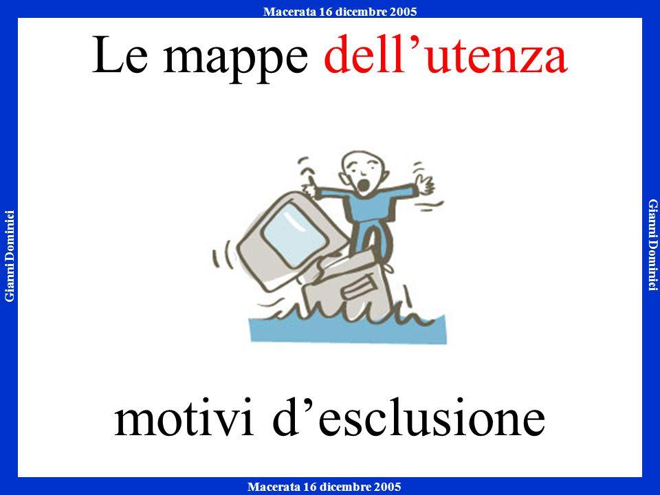 Gianni Dominici Macerata 16 dicembre 2005 Napoli 7 ottobre 2005 Macerata 16 dicembre 2005 Le mappe dellutenza motivi desclusione
