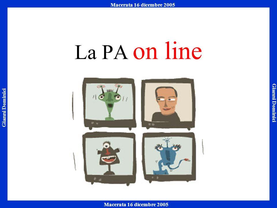 Gianni Dominici Macerata 16 dicembre 2005 Napoli 7 ottobre 2005 Macerata 16 dicembre 2005 La PA on line
