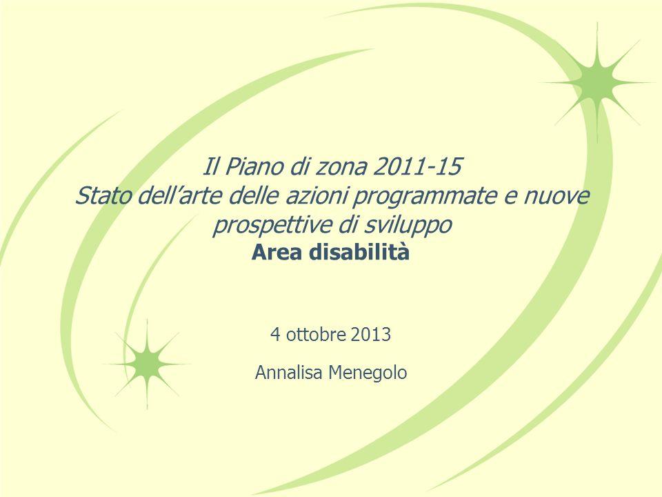 Il Piano di zona 2011-15 Stato dellarte delle azioni programmate e nuove prospettive di sviluppo Area disabilità 4 ottobre 2013 Annalisa Menegolo
