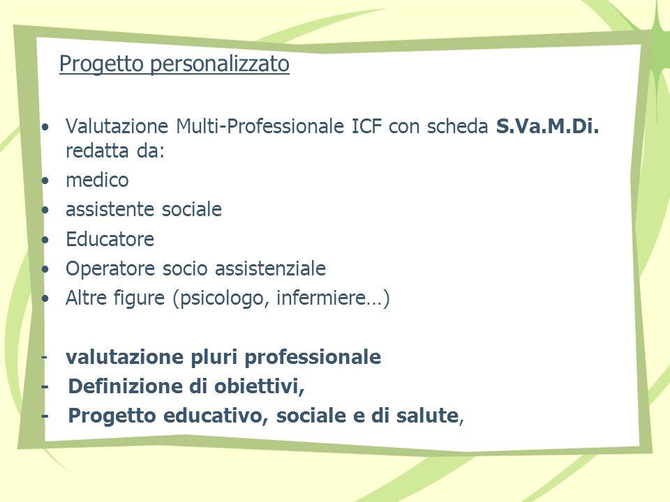 Progetto personalizzato Valutazione Multi-Professionale ICF con scheda S.Va.M.Di.
